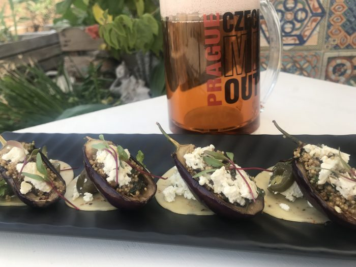 Quinoa in Grilled Aubergines Cups topped with Feta cheese served with Gouda Cheese