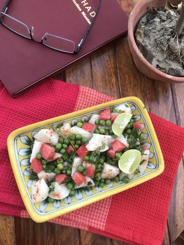 Crunchy Jamrul Pea Salad/ Water Apple and Pea Salad in Mint Vinegrette