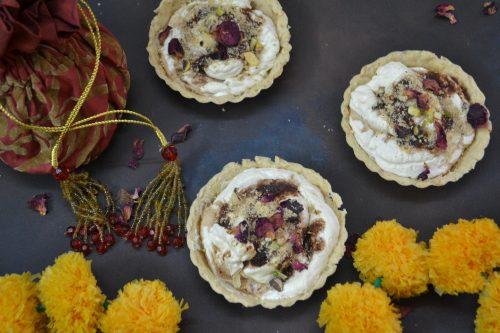 Thandai cream cheese tart with Pistachio crumble and Gulukand